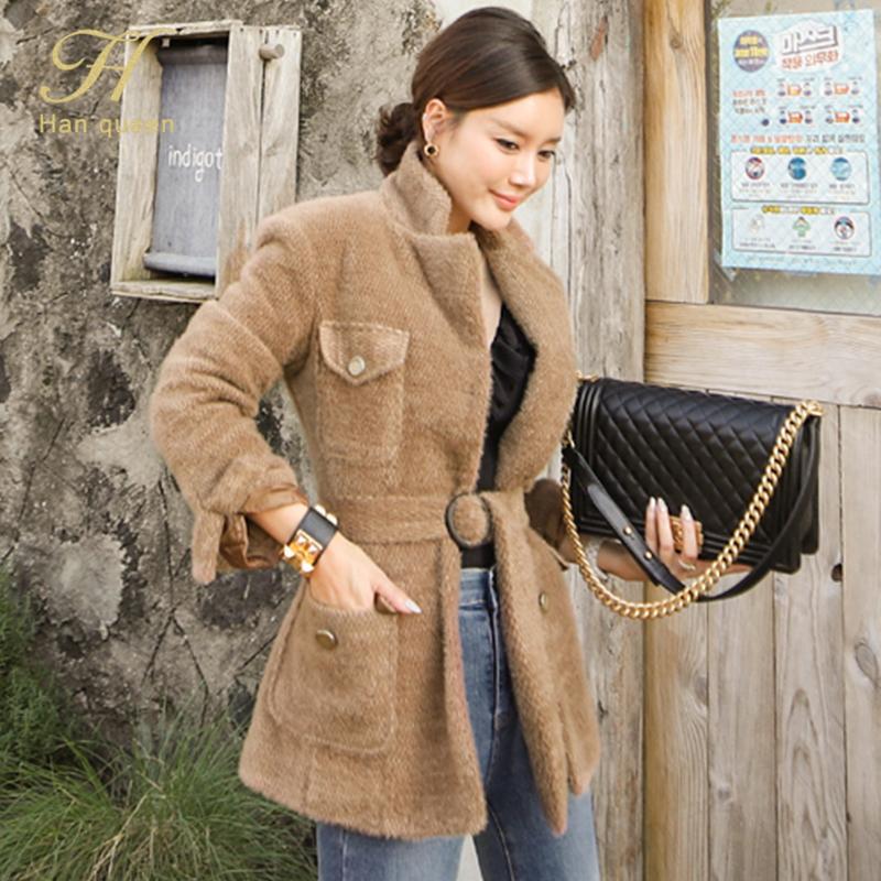 H HAN Queen Новый Корейский Шикан Женщин на шнуровке Пальто моды шерстяной карманный пиджак Элегантные однобортные повседневные женские зимние пальто