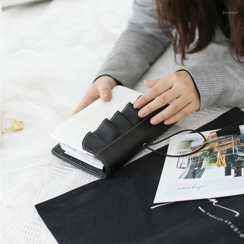 Lovedoki Flouncing Couro Capa Notebook A6 Pessoal Planejador Journals Organizador Dia Diário Reserve Escola Material Creative Stationery1
