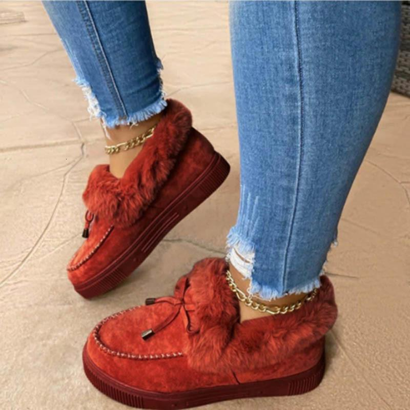 Nausk Neue Frauen Winter Baumwolle Schuhe Bowknot Plüsch Warme Schnee Stiefel Damen Casual Flat Kurzstiefel Feste Farbe Pelzige Frauen