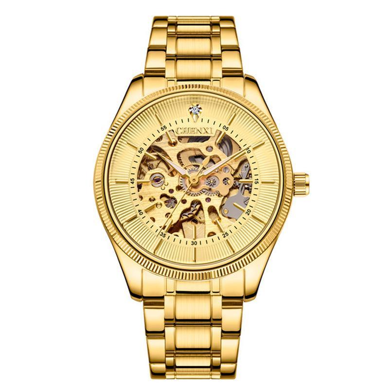 Chenxi ذكر الأعمال ساعة اليد الهيكل العظمي الهاتفي التلقائي حركة الفولاذ المقاوم للصدأ مشبك الفولاذ المقاوم للصدأ مشبك 001 ساعات للرجال