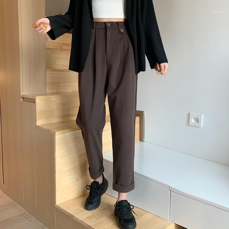 Nova Chegada Coréia Moda Outono Mulheres Cintura Alta Calças de Lã Loose All-Matched Casual Preto Harem Pants Femme Trausers V201