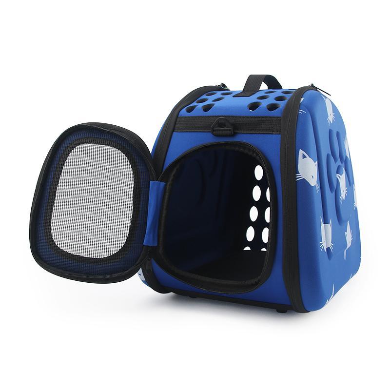 Sacs à motifs Porte-chiots pliables Chiot Portable Cats Sac Sac Pet De Voyage Sac à main Porter Épaule Bleu Cat Osdpl