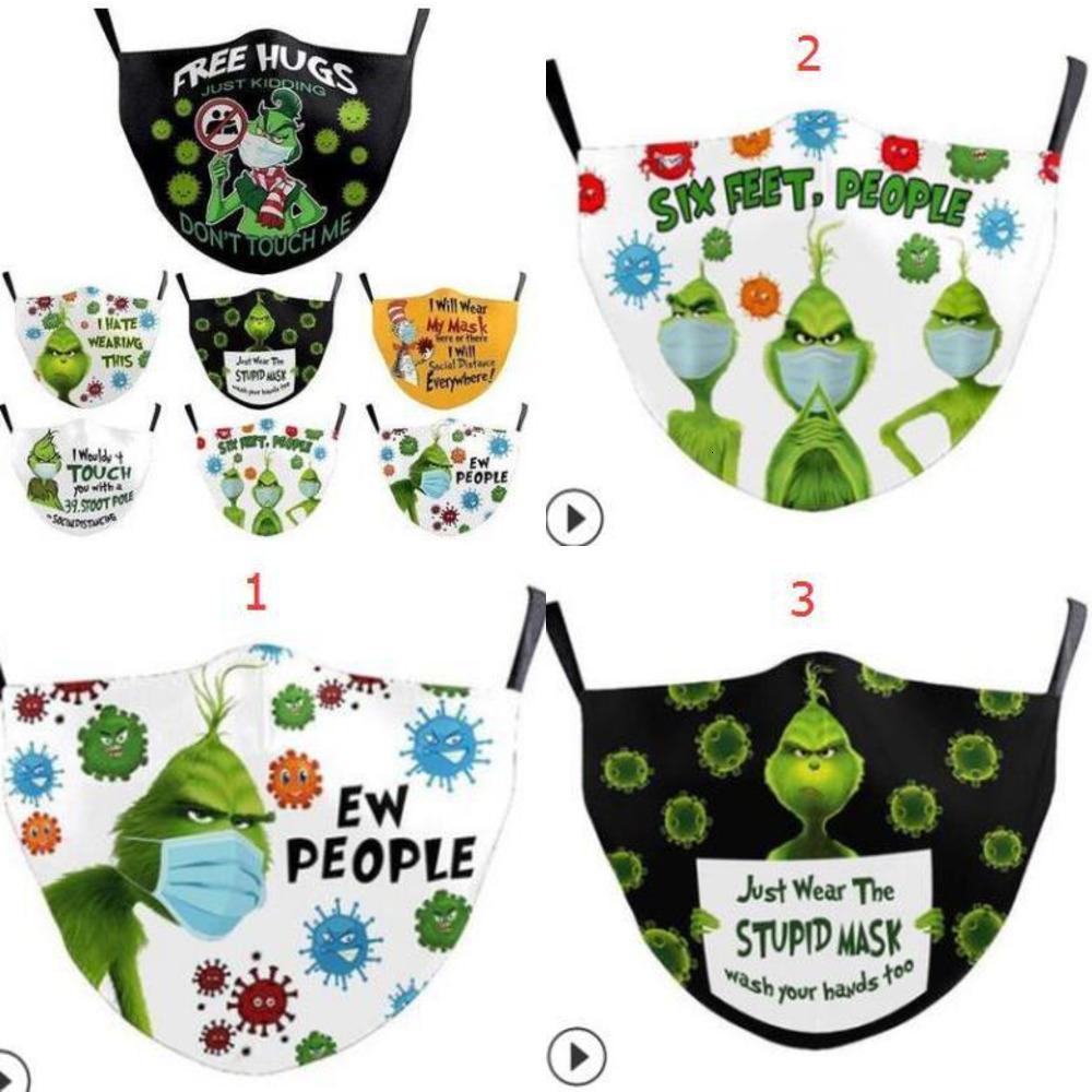 Моящаяся сторона Grinch Print Cosplay stole Masks Многоразовые рождественские 3D пылезащищенные милые мода лица MAX9