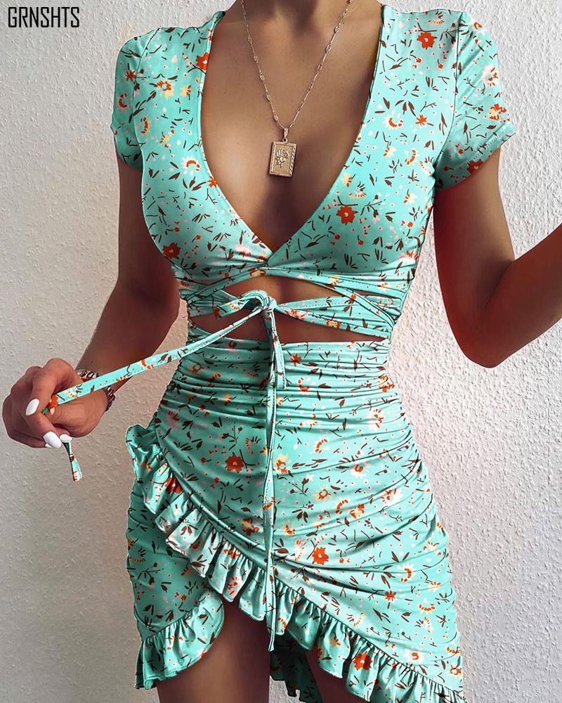 Blumendruck Kinode Up Wrap Mini Kleid 2021 Sommerferien Rüschen Sommerkleid Rüste Damen Kleid Kurzarm Strand Kleider Mode