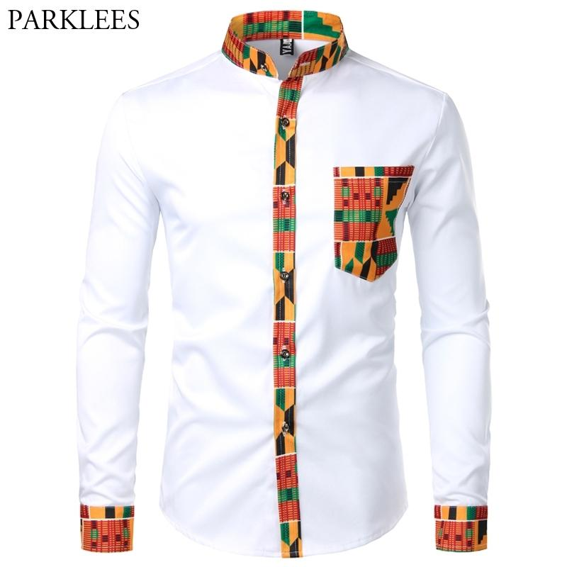 Dashiki African Mens Camicia Patchwork Pocket Pocket Africaine Stampa Camicia Uomini Ankara Style Manica Lunga Design Collar Mens Dress Shirts 201120