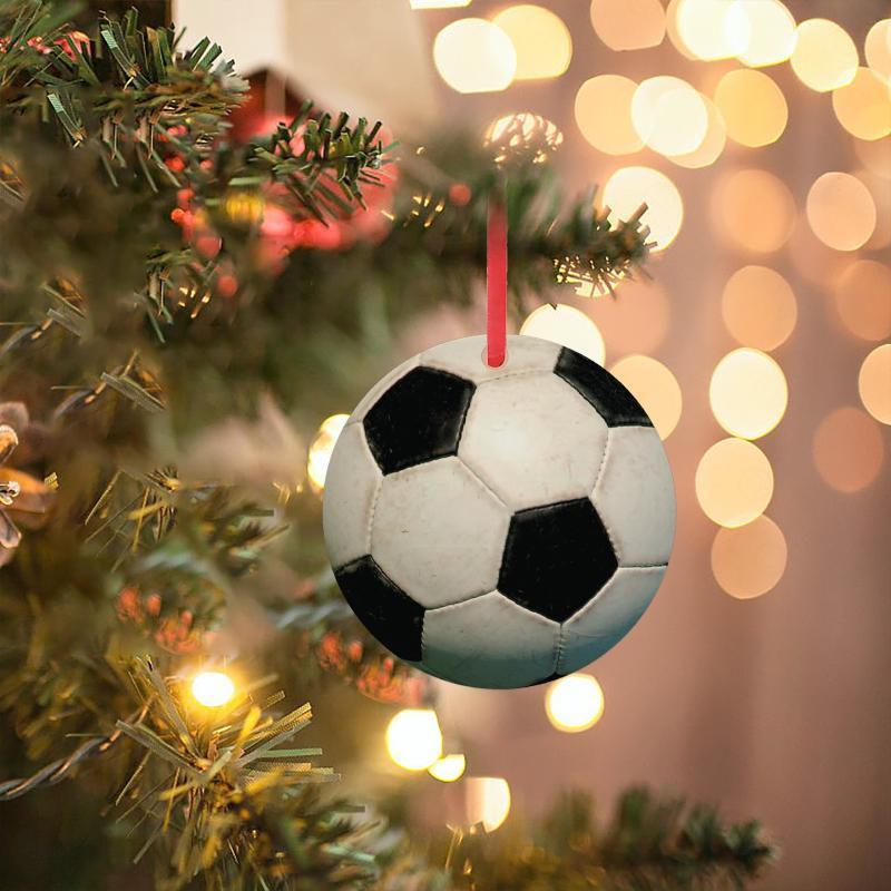 2020 Bolas personalizadas Colgante Adornos de Navidad Fútbol Baloncesto Rugby Béisbol Etiquetas Colgando Tags Inicio Decoraciones de Navidad