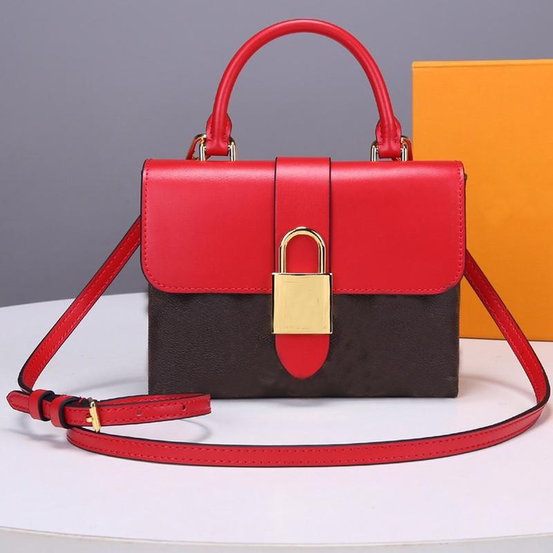 High Quality Women Locky Handbag Adjustable Belt Shoulder Bags Old Flower Genuine Leather Crossbody Bag with Lock Multi Pochette Free ship