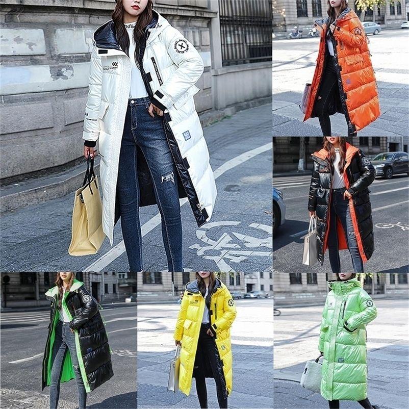 Mode d'hiver pour femmes brillante longue sur-genouillère à capuche épaisse à capuche épaisse manteau décontracté manteau de mode vêtement d'extérieur 201209
