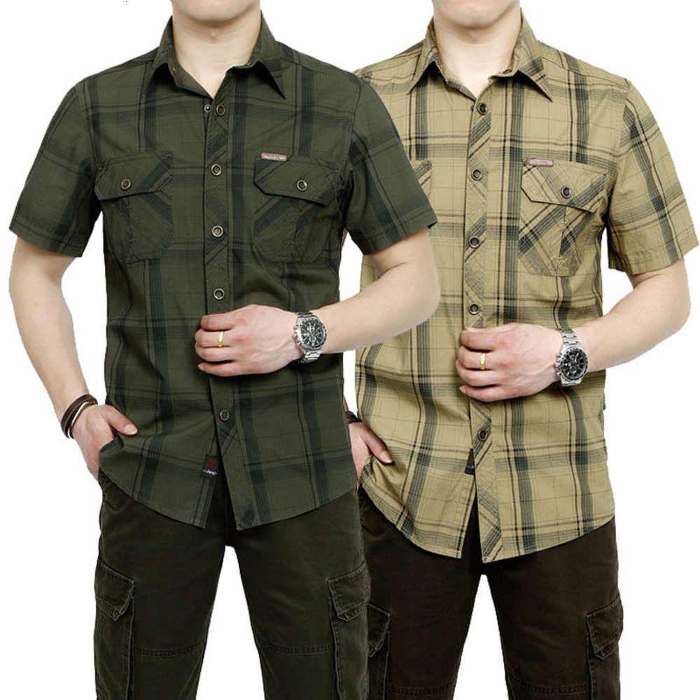 Summer Short Plus Grande Camicia Plaid Mezza Ambientato Mezzo manica