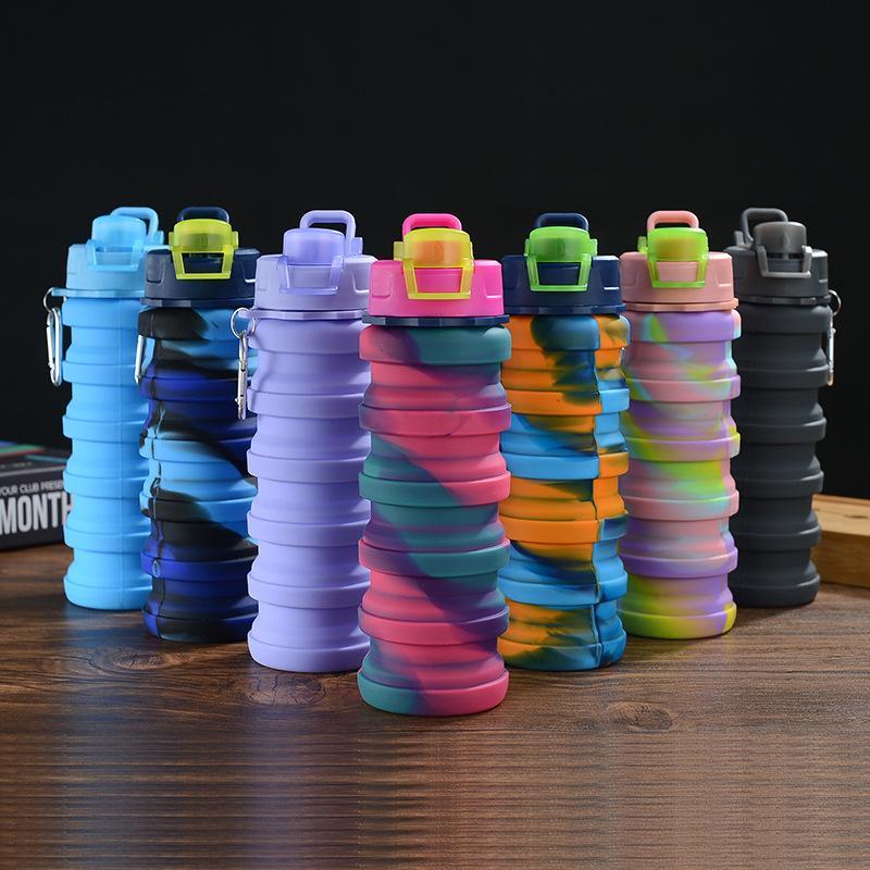 Creative Camuflaje Botella de agua Botella de silicona Pliegue Telescópico Tumbler Mosquetón Deportes Tazas Tazas Portátiles Senderismo Camping Equipo de camping 500ml