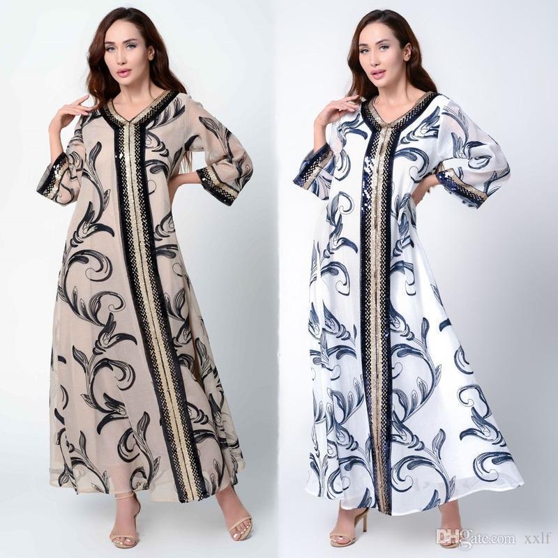 MD Arabische Kleider Pailletten Muslimische Neue Mode Abaya Hijab Kleid Vestido Strickjacke Kimono Drucken Lange Robe Jalabiya Islamische Kleidung