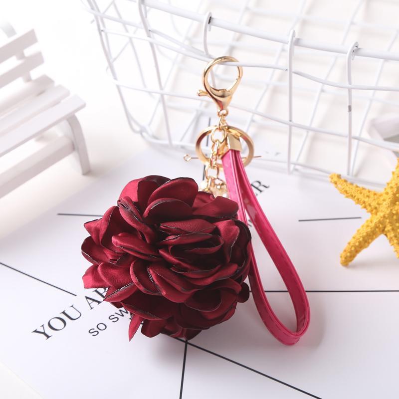 12pcs Dozen Vente Sale Cuir Sangle Rose Fleur Keychain Sac Pendentif Voiture Ornements Charm pour Femmes Boucle Key Bague EH590 C H WMTHDO
