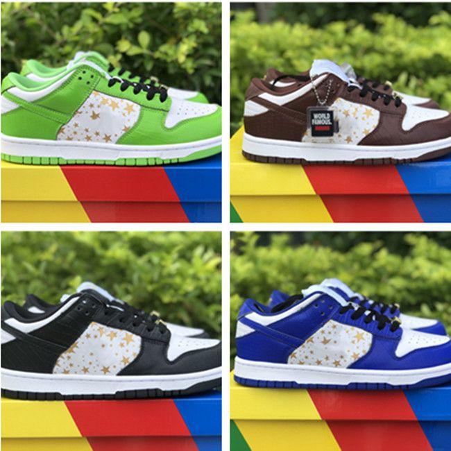 상자 뜨거운 futura x sb superme dunks 낮은 캐주얼 신발 여성 망 디자이너 녹색 파란색 흰색 검은 회색 덩크 taquets 신발