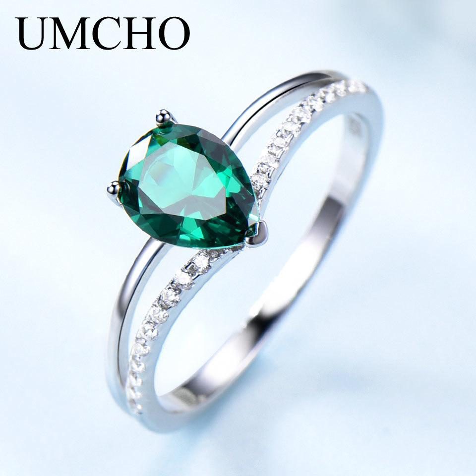 Umcho Green Emerald Piedra de piedras preciosas para mujeres 925 Joyería de plata esterlina Romántico Classic Water Drop Ring Día de San Valentín Regalo Y1119