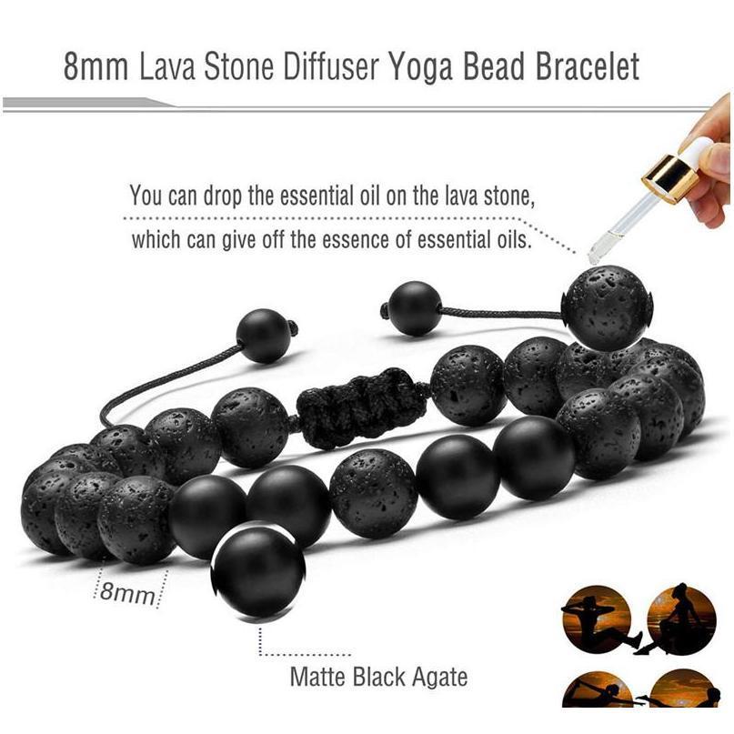 Lava vulcânica masculina Pedra Pulseira Ajustável Natural Pedra Beads Matte Onyx Turquesa Trançado Pulseira Bangles SQCGVC Queen66