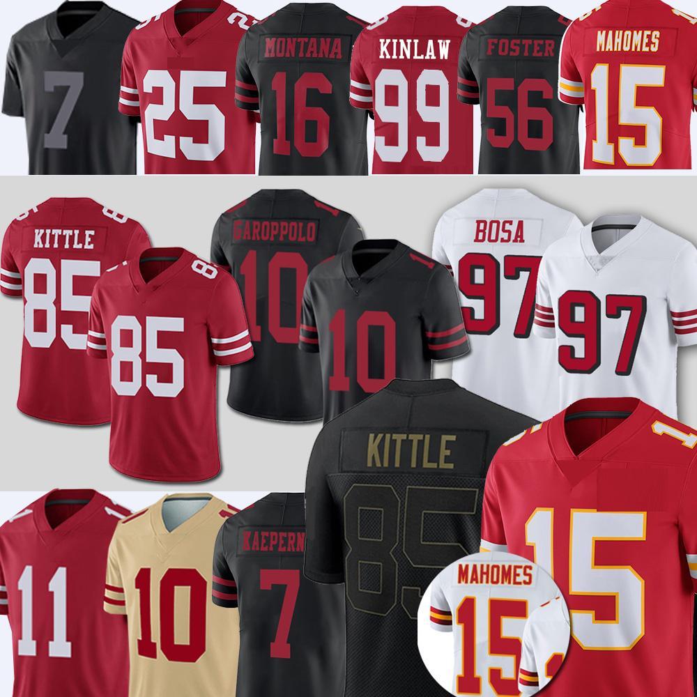 85 George Kittle 99 Javon Kinlaw 15 Patrick Mahomes 25 Richard Sherman Football Jerseys 49 Jimmy Garoppolo Colin Kaepernick 11 Brandon Aiyuk