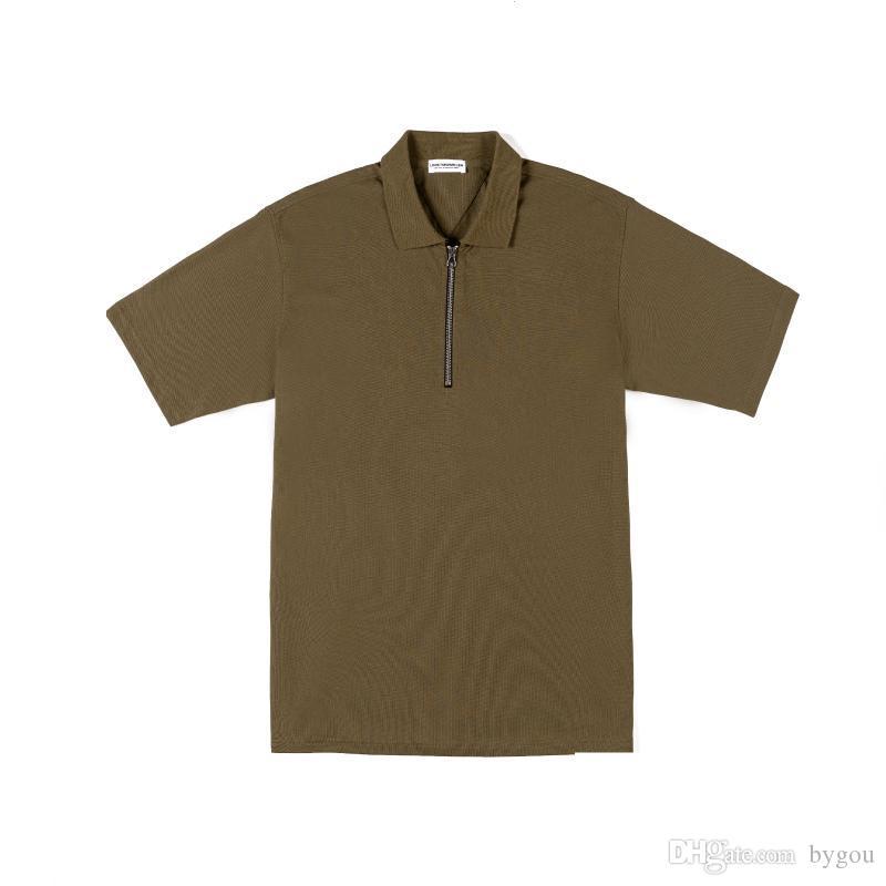 Polos de los hombres camisa negra suelta hebilla de metal impresión algodón cuello redondo negro ejército verde metal zip camisa de polo