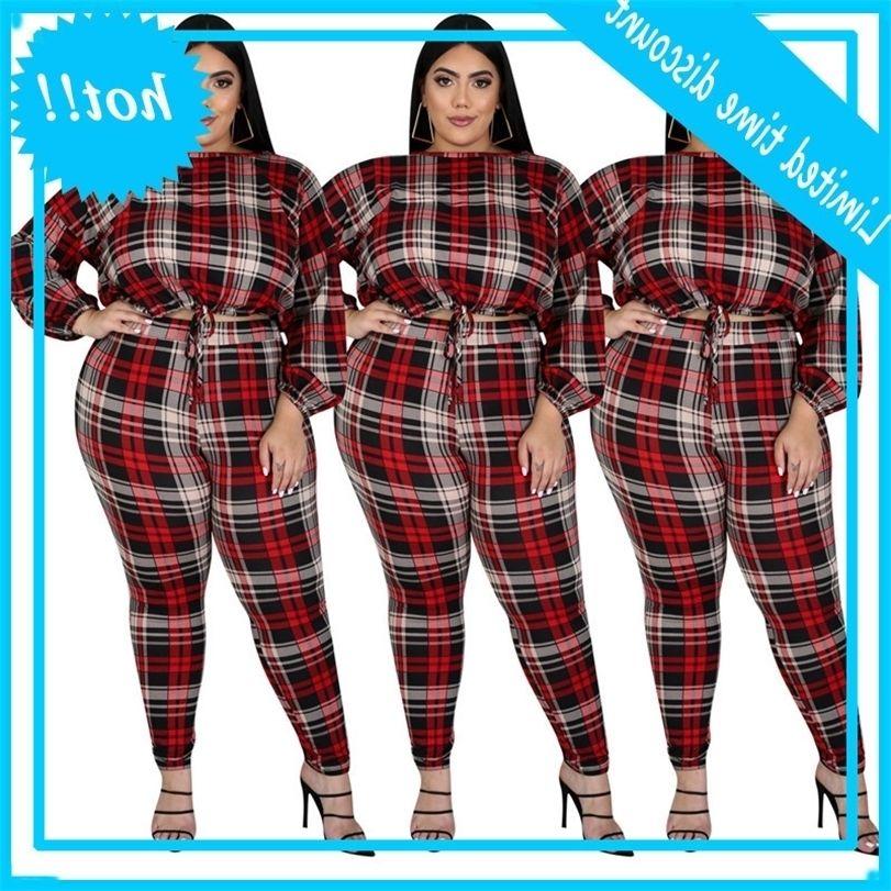 2pcs / ensembles modèles de rayures de mode décontractés Set lâche Setwear Plus Taille Femmes SweatSuit Ensembles