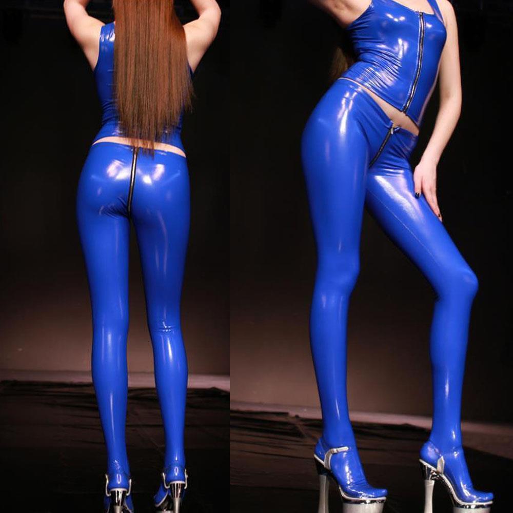 Plus größe pvc latex glänzend reißverschluss crosch sexy bleistift hosen offen butt nass leggings streewear faux leder hosen frauen strumpfhose