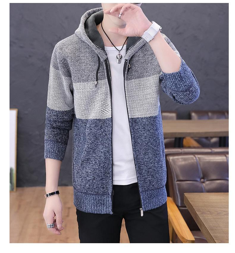 Winter V-neck Cardigan Sweater Homme Warm Striped Polyester Men's Coat Casual Fit Grey Knitted Sweater For Man Tops Cardigan Men