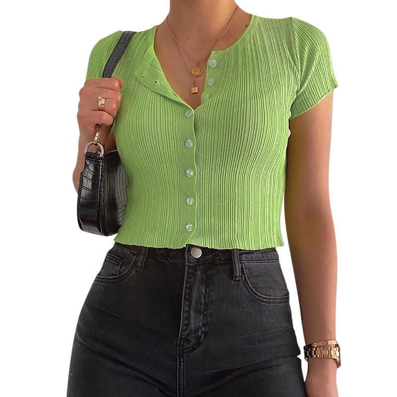 Sommer-Ernte-Top-Frauen-Kurzarm-Rundhals-gerippter fester Knopf T-shirts Neue 2020 Mode Damen-Tops weibliche T-Shirts F1230