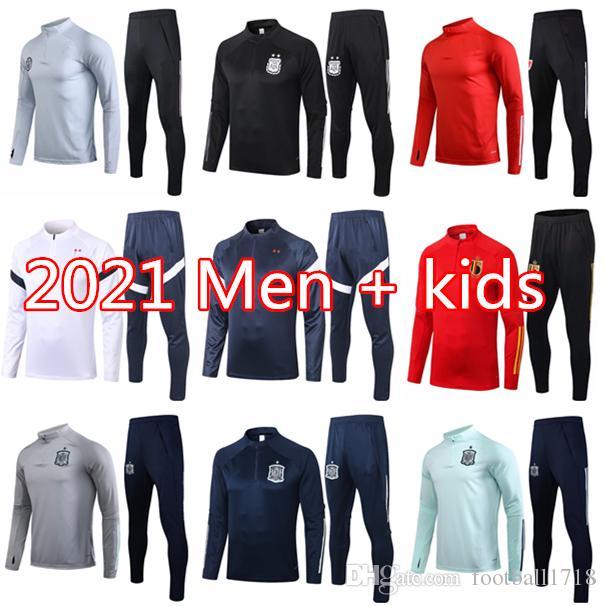 2021 프랑스 스페인 축구 운동복 긴 소매 chandal 펏볼 (20) (21) 아르헨티나 벨기에 축구 훈련 정장 KANE 베르너의 운동복