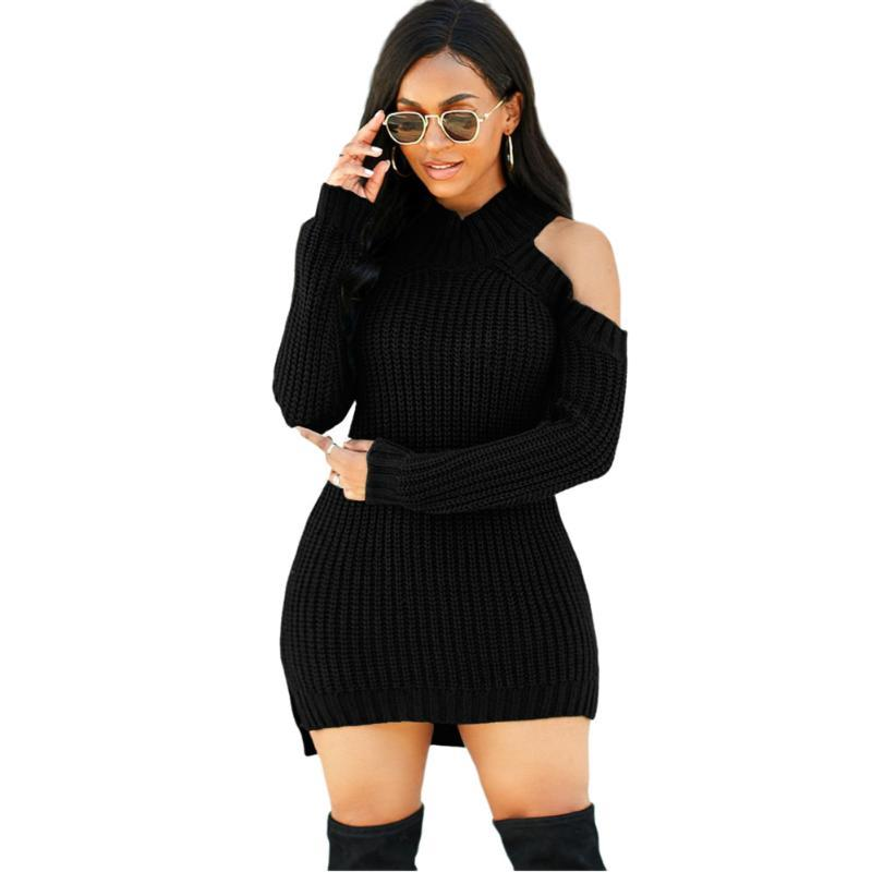 Casual kleider herbst / winter 2021 gestrickte kleid damen o neck kalte schulter langarm sexy pullover frauen plus größe vestidos