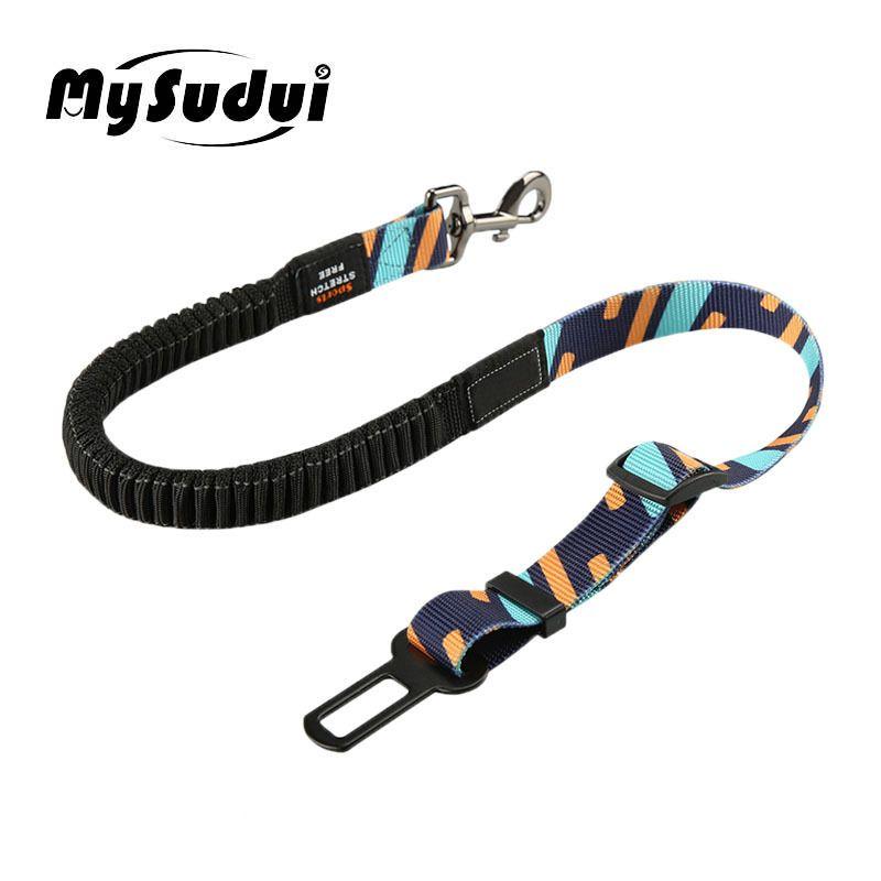 Vehicle Car Pet Dog Seat Belt Adjustable Safety Belt For Dog In The Car Belt Accessories Travel Elastic Dog Leash Clip Harness 201126
