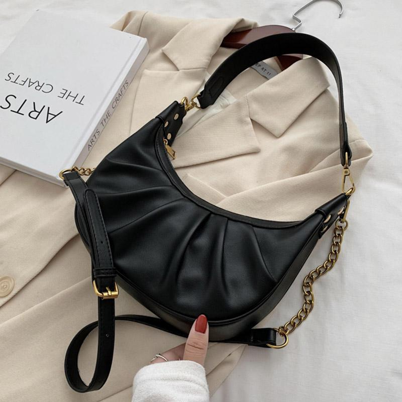 2021 Small PU Leather Half Moon Bags 2021 Shoulder Handbags Female Trend Folds Designer Chain Crossbody Hand Bag