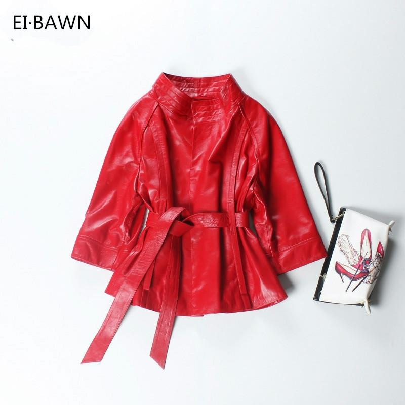 Frauenjacken Rote Echtes Lederjacke Frauen Plus Größe Echtes Schaffell Schwarz Rosa Lila Mantel Oberbekleidung JAQUETA DE COURO