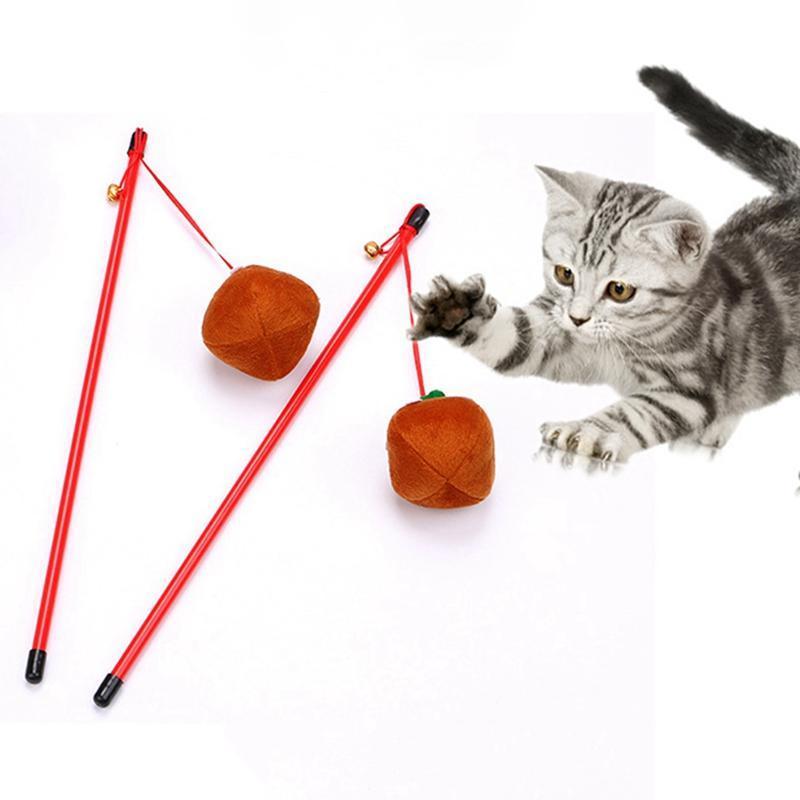 القط مضحك عصا لعبة هالوين دعابة القط اليقطين اللعب هريرة الحيوانات الأليفة التفاعلية dangler عصا لعبة مع جرس # 6
