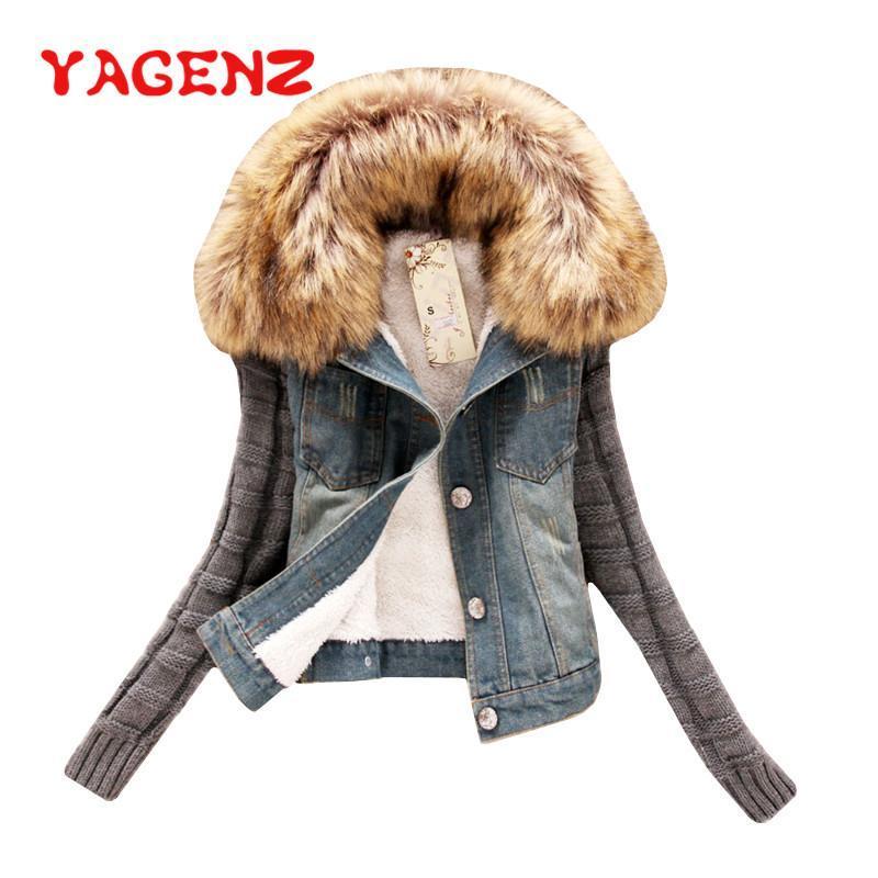 Frauenjacken Yagenz Frühling Herbst Kleidung Denim Jacke Frauen Pelzkragen Mit Kapuze Plus Samt Jeans Chaqueta Mujer 438