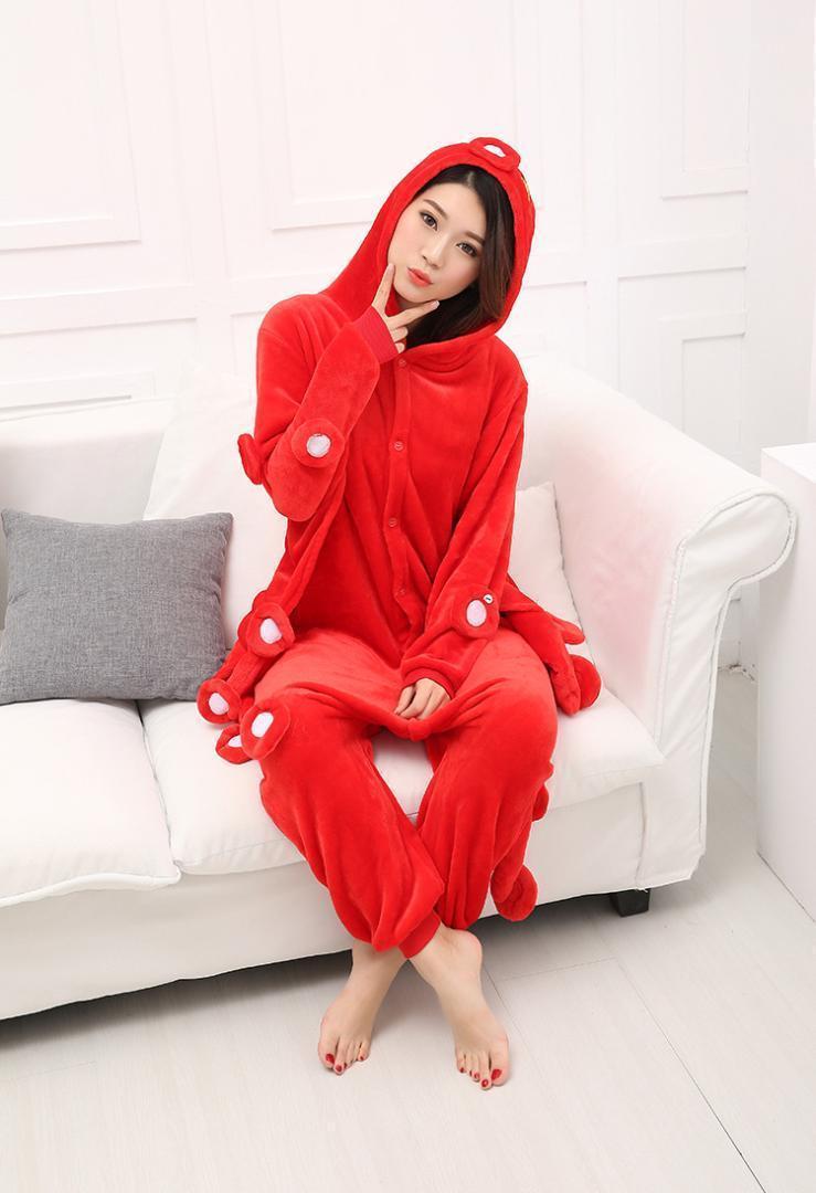 Yetişkin Unisex Hayvan Onesie Pijama Kırmızı Ahtapot Deniz Balık Cosplay Kostüm Pijama Onesie Kostüm Pijama Jumpsuit1