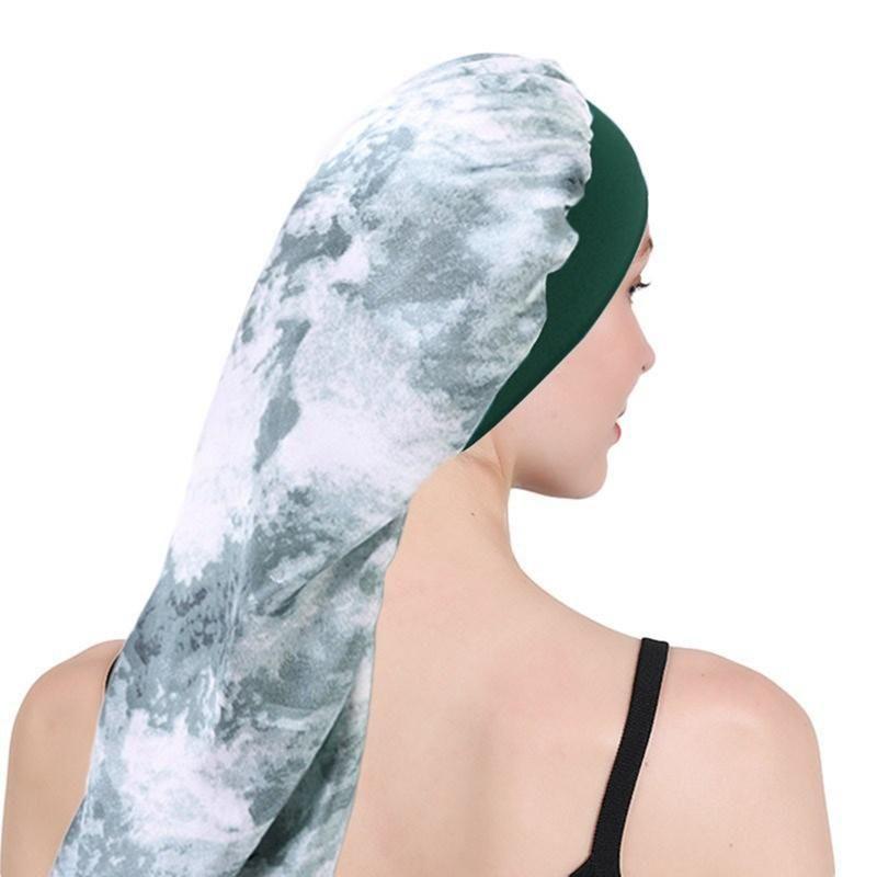 Mujeres Ancha Banda Elástica Satén Sombrero Encabezado Tie-Dye Satin Long Pein Cap Sleep Hat Wrap Night Cap Cabello Cuidado Bonnet Nightcap