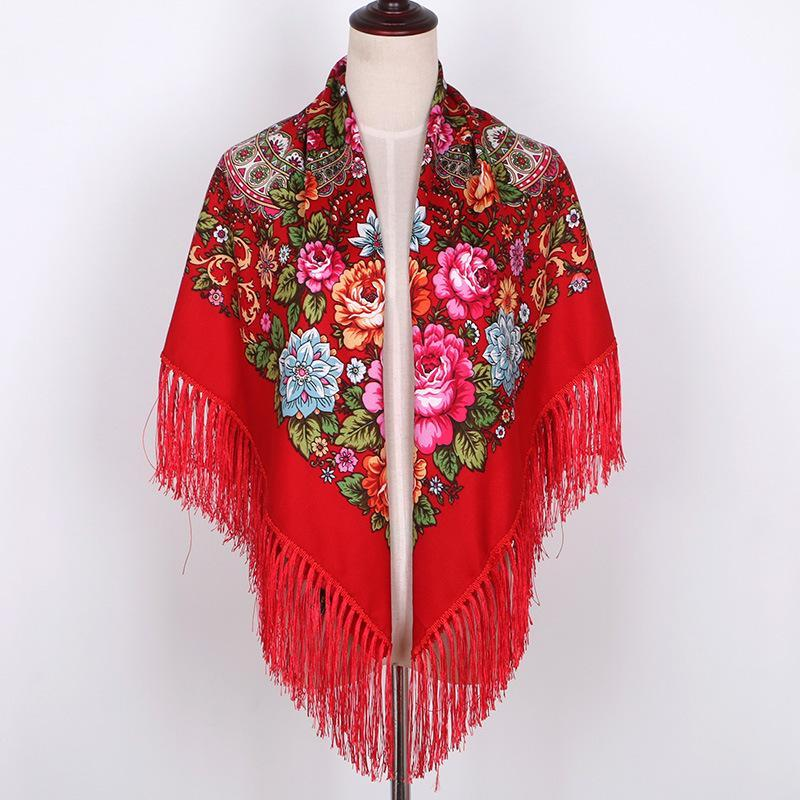 New Ladies Russian Cotton Flower Tassel Big Square Scarf Female Travel Headscarf Travel Shade National Wind Retro Shawl