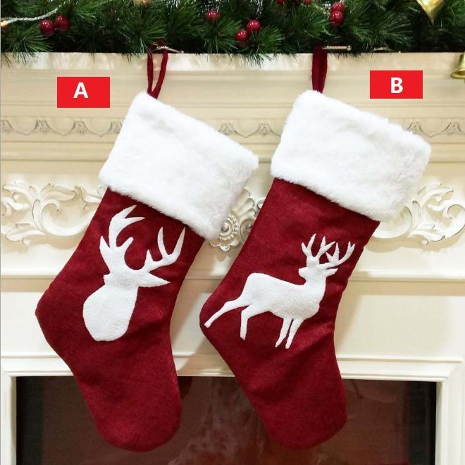 Christmas tree pendant gift bag kenaf elk snowflake embroidery Christmas socks Christmas gifts RED 46cm