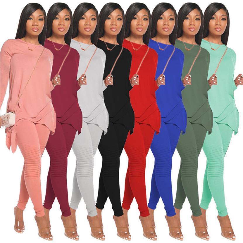 Frauen einfarbig Outfits plus Größe 2XL Jogger Anzug Herbst Winterkleidung Langarm Trainingsanzüge Hoodies + Hosen Zweiteiler Set Sportswear 4320