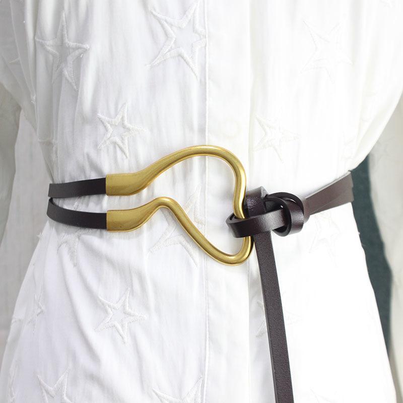 2021 frühling sommer frauen mode leder gürtel designer kurze gruß gold schnalle lange gürtel hohe qualität faden barm schwarz rot weiß q0122