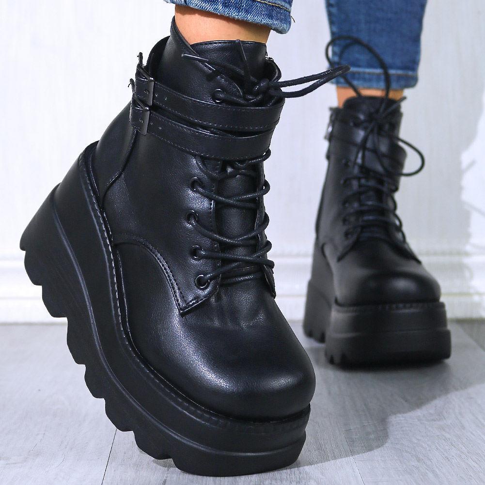 Marque 2020 NOUVELLES TAILLES BIG 43 Plate-forme High-Automne Heel Ajoutez des cales Chaussures en peluche Bottines Femme's Fashion Bottines 5KQ6