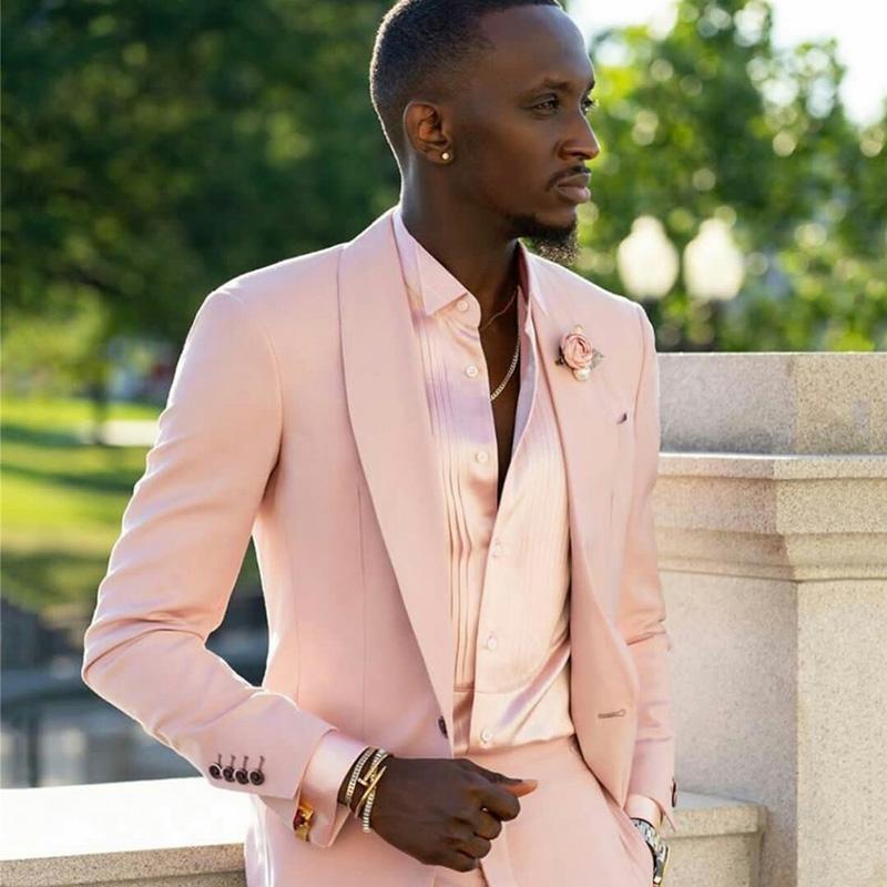 Cabeça cor-de-rosa cor-de-rosa ternos 2 peças noivo melhor homem calças terno negócio casamento longo blazer (jaqueta + calça)