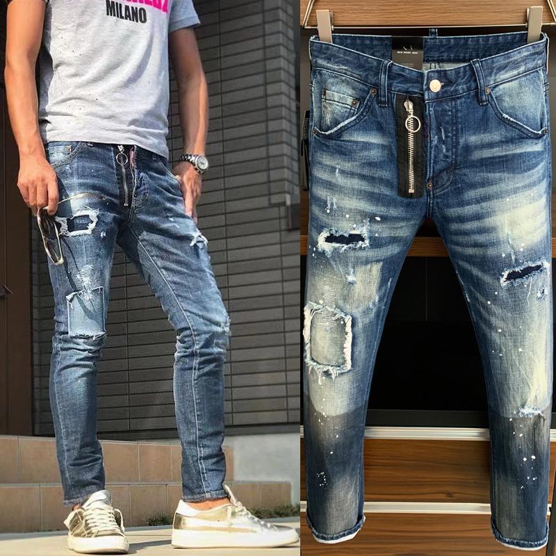 Hombre Pantalones de mezclilla angustiados Daño desvanecido Cinco bolsillos Clement Fit Jeans Pierna flaca Efectos de lavado para hombre