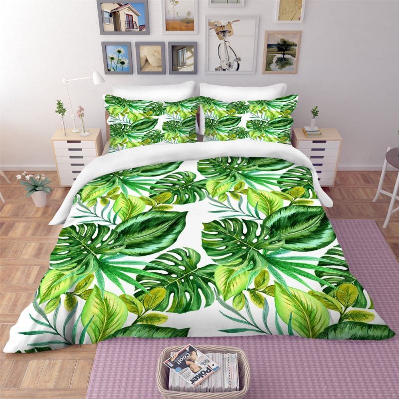 Yatak Takımları Tropikal Bitkiler Mikrofiber Nevresim Seti 2/3 Parça Kraliçe Kral Hediye Yorgan Yastık Ev Yorgan
