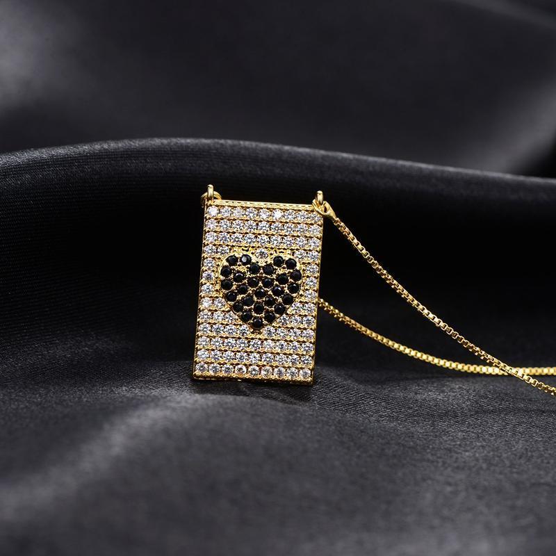 Collana a sospensione a ciondolo in zirconi in zirconi multicolore Amore Cuore Geometrico Rettangolo Collane per le donne Accessori per gioielli per feste di moda