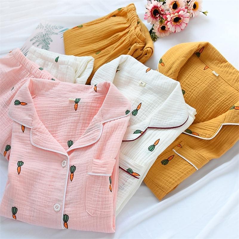 Kadınlar Pamuk Pijama Setleri Havuç Baskı Desen Uzun Kollu Gömlek + Pantolon Yumuşak Pijama Seti Nightie Ev Giysileri Sonbahar 201102
