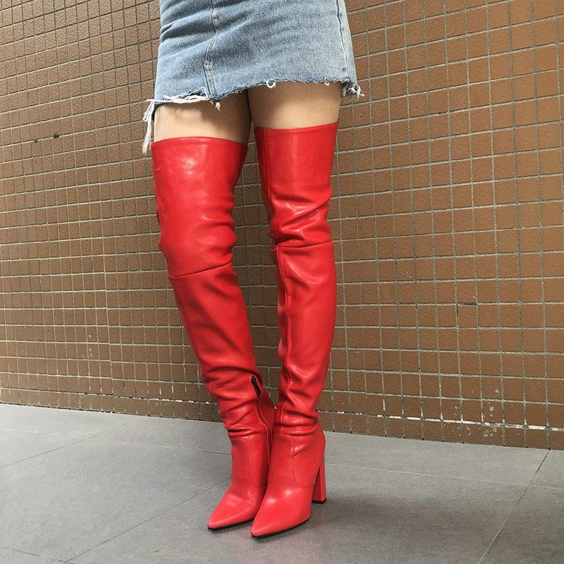 Women Sexy Thigh High Boots for Women Pointed Toe Block Heel Over the Knee High Boots 2020 Winter New Long Boots Red Black Beige LJ201030