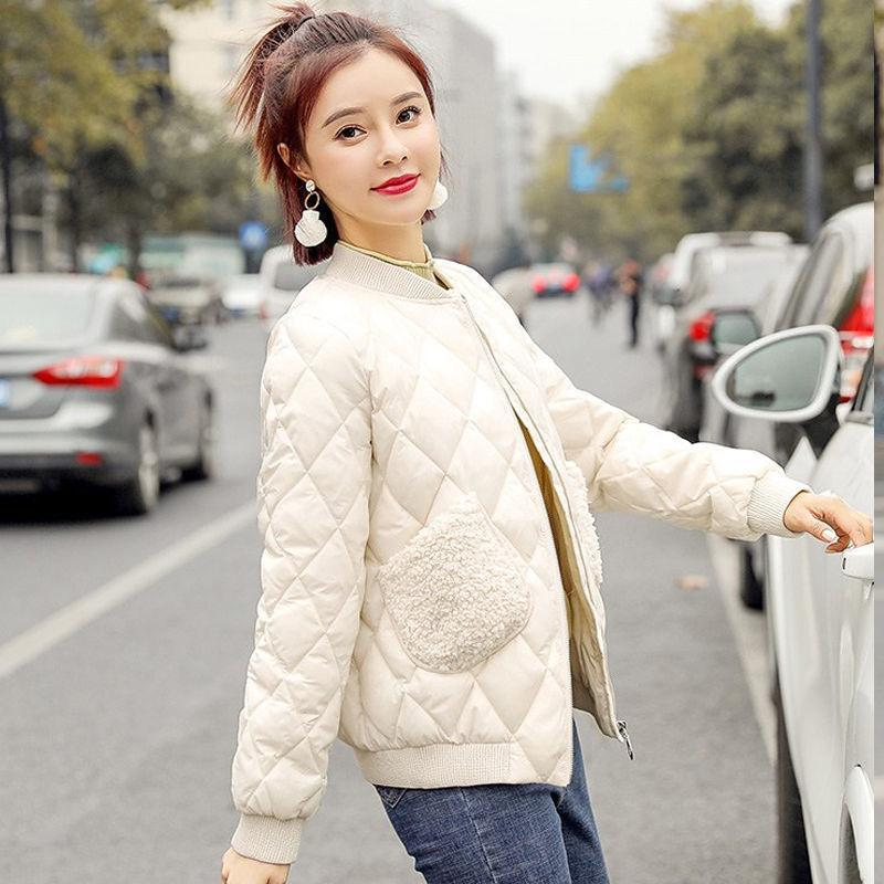 Kadın Pamuk -Padded Ceket 2021 Yeni Kore Tarzı Pamuk -Padded Ceket Kuzu Yün Kısa Ceket Kadın Moda