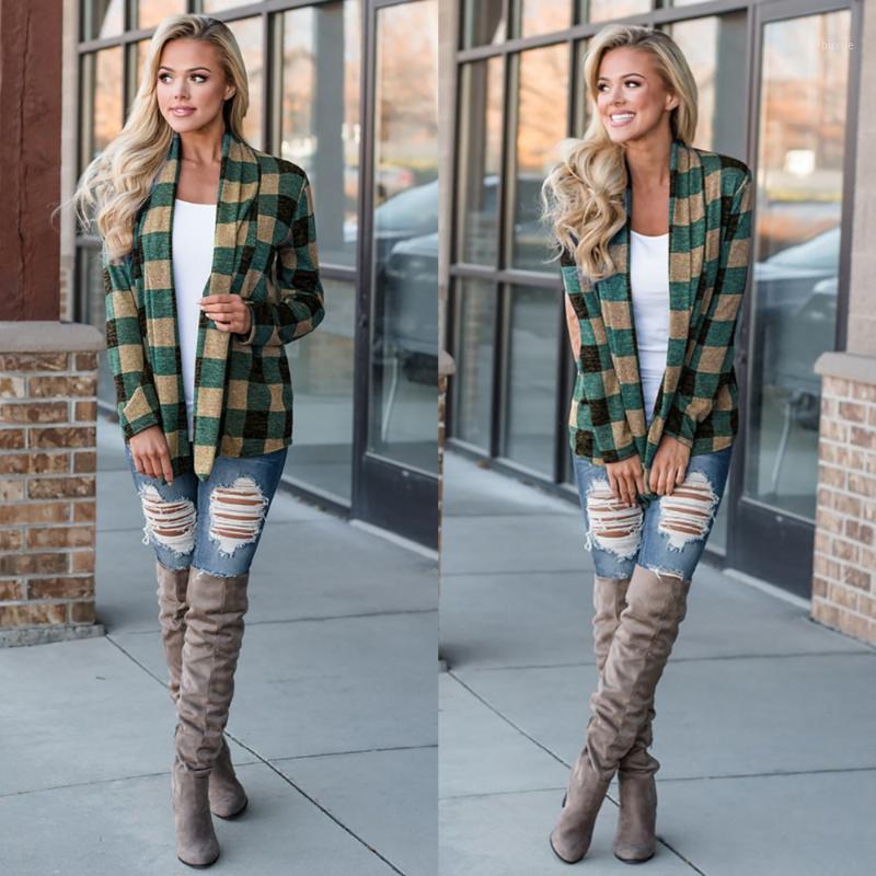 Осень зимние кардиганские повседневные женские пальто 5 цветов плед пальто с длинным рукавом женский пальто женской куртки верхняя одежда открытая стежка1