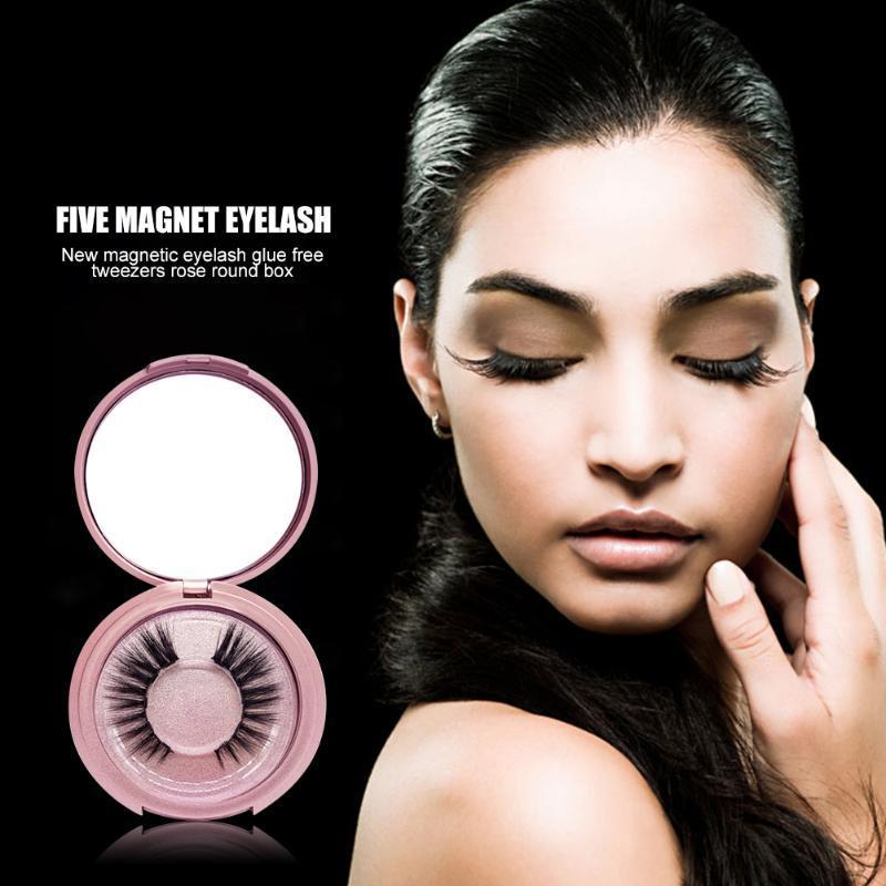 1Pair Magnetic False Reelashes 3D норковые волосы поддельные ресницы с пинцерами 5 магнитов Мягкая косметическая косметика.