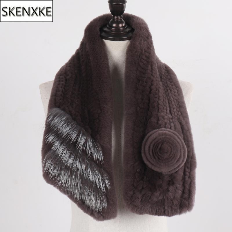 Venda quente de malha lenço de pele real mulheres inverno rex pele lenços senhora de qualidade quente rex e silenciador