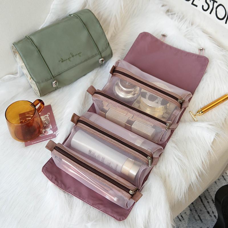 Cuatro en una bolsa de cosméticos plegables Mujeres Viajes Maquillaje Organizador Grandes Pinceles Portátiles Pinceles Pinceles Artículos de aseo Kit de maquillaje